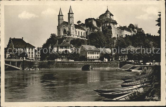 Aarburg AG Festung und Kirche Bootsliegeplatz Kat. Aarburg