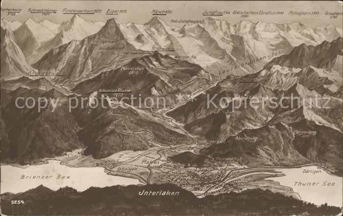 Interlaken BE Panoramakarte Brienzer See Thuner See Kat. Interlaken