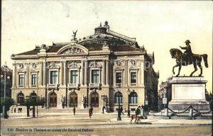 Geneve GE Theatre et statue du General Dufour Kat. Geneve