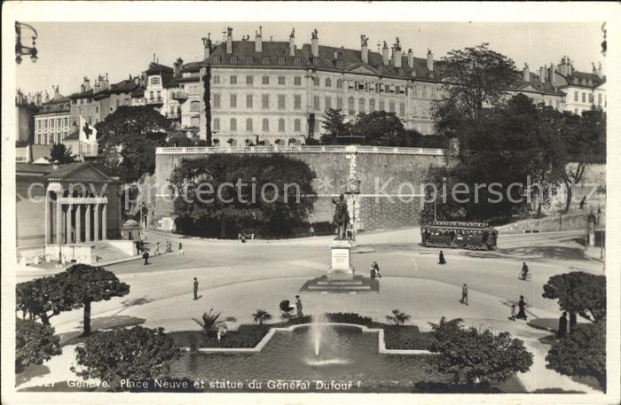 Geneve GE Place Neuve et statue du General Dufour Kat. Geneve 0