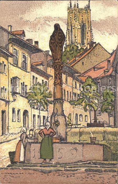 Fribourg FR Fontaine St Anne et Place Petit St Jean Kat. Fribourg FR