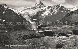 Grindelwald Oberer Gletscher Schreckhoerner Brueckchen Kat. Grindelwald