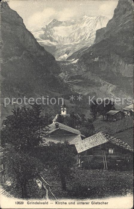 Grindelwald Dorfpartie mit Kirche und Gletscher Kat. Grindelwald