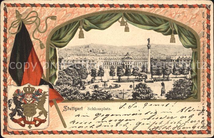 Stuttgart Schlossplatz Jubilaeumssaeule Wappen Fahne Kat. Stuttgart