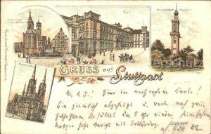 Stuttgart Stiftskirche Schillerdenkmal Post Aussichtsturm Degerloch Marienkirche Kat. Stuttgart