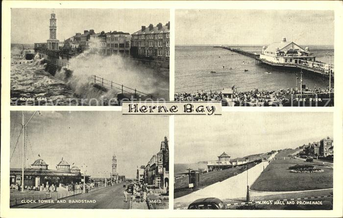 Herne Bay Rough Sea Pier Clock Tower Bandstand King's Hall Promenade / City of Canterbury /