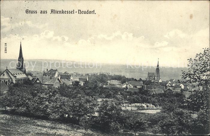 Neudorf Altenkessel Ortsansicht mit Kirche Stempel Kat. Saarbruecken