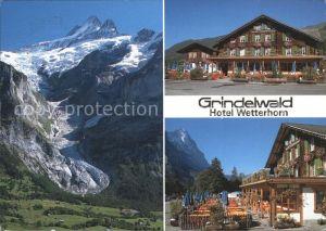 Grindelwald Hotel Wetterhorn Schreckhorn und oberer Gletscher Kat. Grindelwald