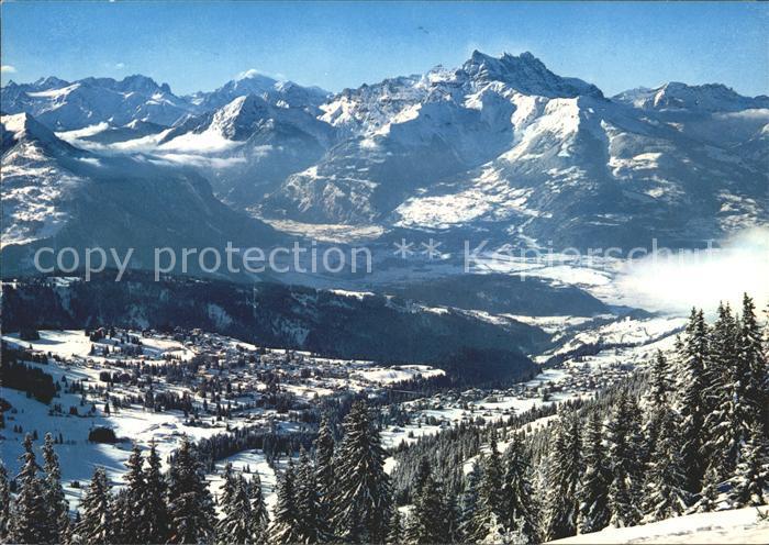 Villars Chesieres Vue generale au fond le Glacier du Trient Mont Blanc et Dent du Midi / Villars /Rg. Les Mosses