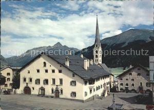 Zuoz GR Dorfplatz mit Kirche Kat. Zuoz