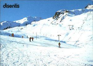 Disentis GR Panorama mit Skilift Gendusas Kat. Disentis