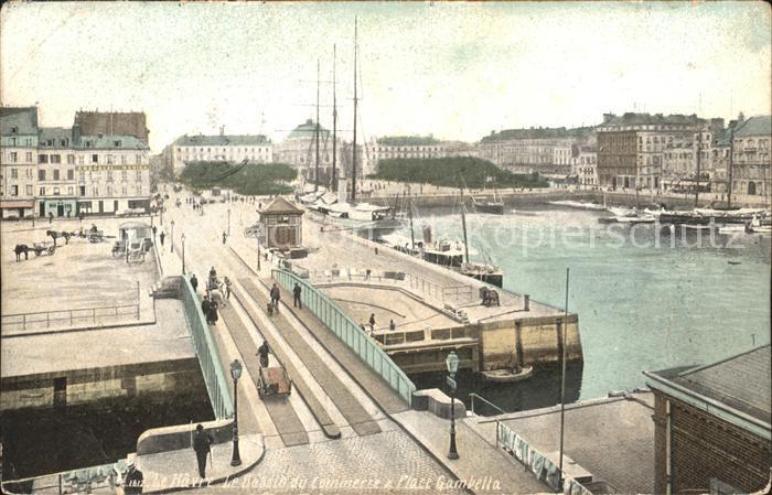 Le Havre Bassin du Commerce et Place Gambetta Bateaux Kat. Le Havre