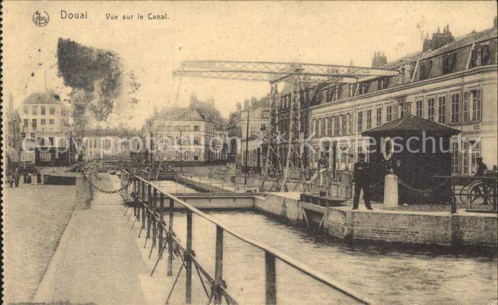 Douai Nord Vue sur le Canal Pont Lazarett Stempel Kat. Douai