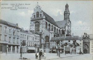Anvers Antwerpen Eglise St Paul et Marche au betail Kat.