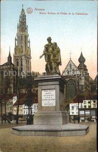 Anvers Antwerpen Statue Rubens et Fleche de la Cathedrale Monument Kat.
