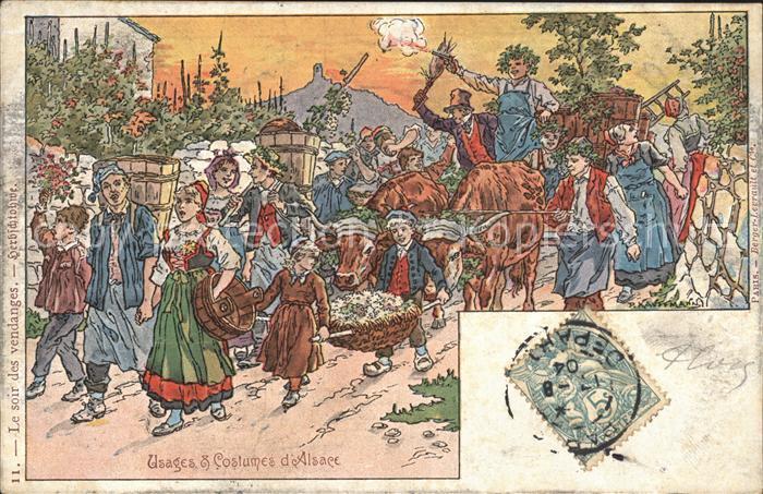 Alsace Elsass Usages et Costumes d Alsace Kuenstlerkarte P. Kauffmann Kat. Epinal