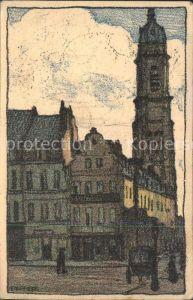 Cambrai Rue St Martin Place d Armes Kuenstlerkarte Kat. Cambrai