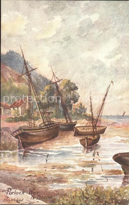 Porlock Weir Kuenstlerkarte N. Devon Schiffe Kat. Porlock