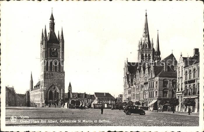 Ypres Ypern West Vlaanderen Grand Place Roi Albert Cathedrale Kat.