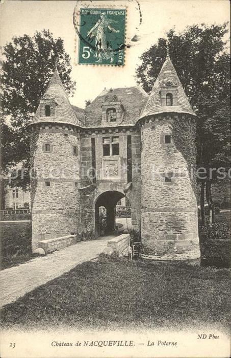 Nacqueville Chateau La Poterne Stempel auf AK