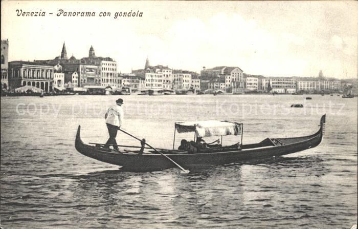 Venezia Venedig Panorama con gondola Kat.