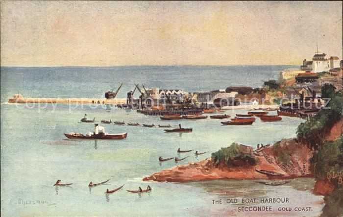 Seccondee Port The Old Boat Harbour Cold Coast Painting Tuck s Kuenstlerkarte Kat. Ghana