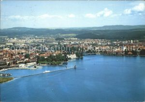 Konstanz Bodensee Hafeneinfahrt und Konzil Fliegeraufnahme Kat. Konstanz