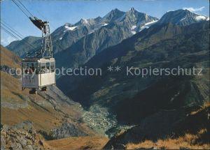 Zermatt VS Schwarzseebahn mit Blick auf Dorf und Mischabelgruppe Kat. Zermatt