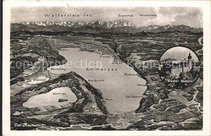 Ammersee und Umgebung aus der Vogelschau Alpen Kloster Andechs Kat. Utting a.Ammersee
