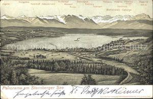 Starnbergersee Panorama mit Alpenkette Kat. Starnberg