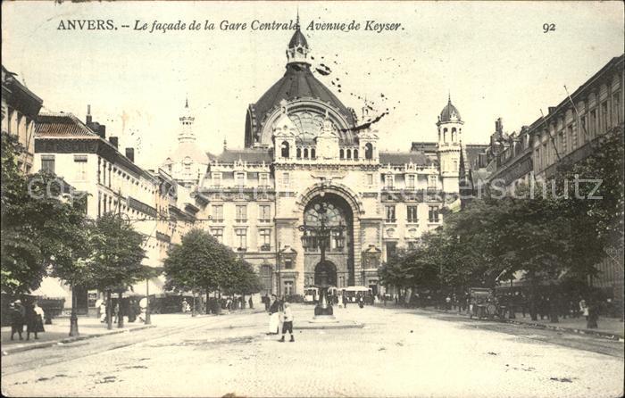 Anvers Antwerpen Le facade de la Gare Centrale Avenue de Keyser Kat.