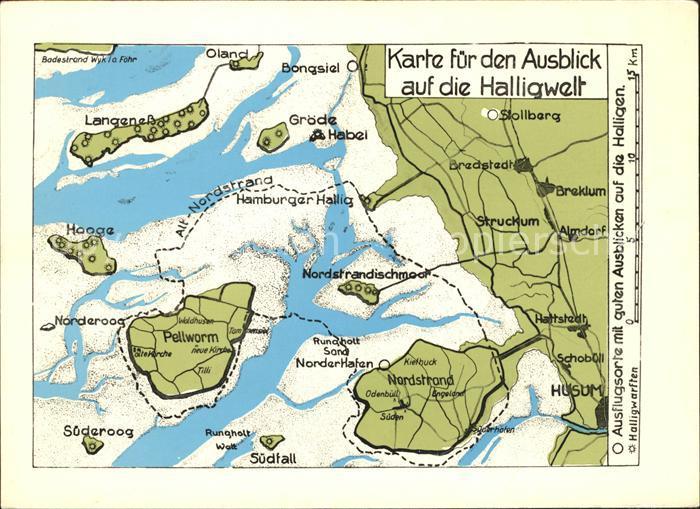 Halligen Nordsee uebersichskarte fuer Ausblick auf die Halligwelt Kat.