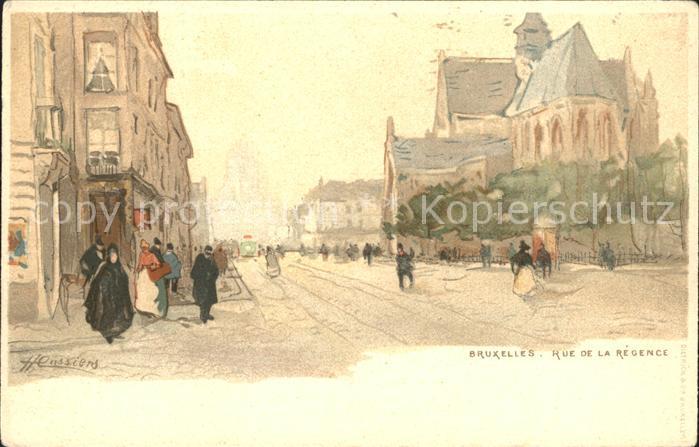 Bruxelles Bruessel Rue de la Regence Kuenstlerkarte /  /