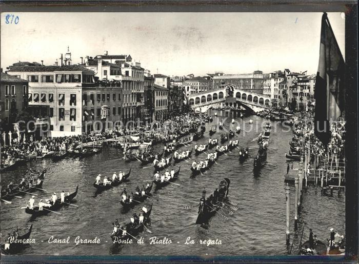 Venezia Venedig Canal Grande Ponte di Rialto Boote Gondeln Kat.