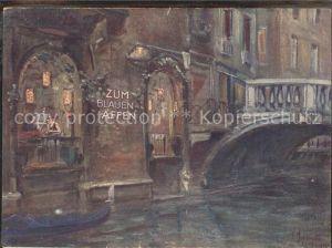 Venezia Venedig Bar Trattoria Sempione Zum blauen Affen Kuenstlerkarte mit Lageplan Kat.