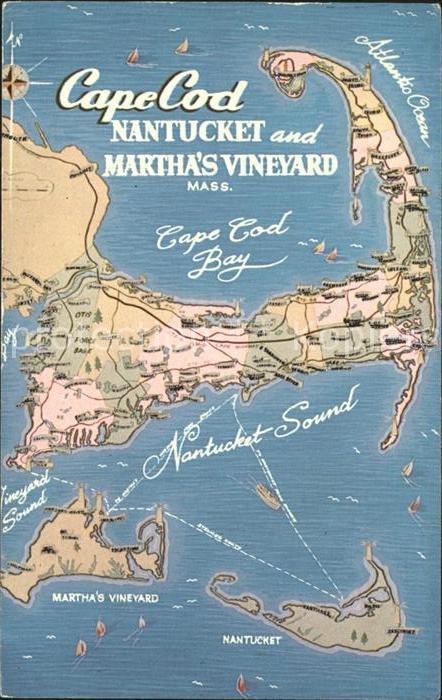 Cape Cod Mass. Bay Nantucket and Marthas Vineyard Map Kat. Nr ...