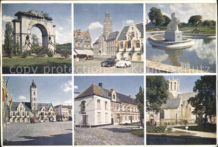 Dendermonde Markt Gerichtshof Rathaus Kirche Denkmal Ruine Kat.