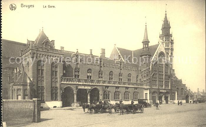 Bruges Flandre La Gare Bahnhof Pferdekutschen Kat.