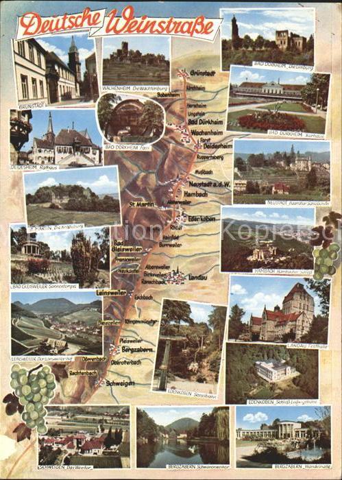 Rheinland Pfalz mit Gruenstadt Wachenheim Bad Duerkheim Deidesheim St Martin Neustadt Bad Giesweiler Leinsweiler Hambach Landau Edenkoben Schweigen Bergzabern  Kat.