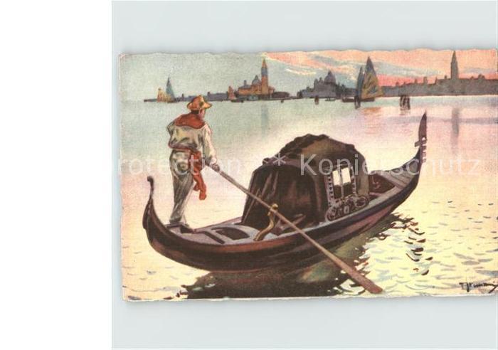 Venezia Venedig La Gondola Gondel Kuenstlerkarte Kat.