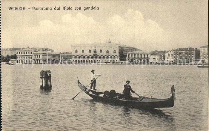 Venezia Venedig Panorama dal Molo con gondola Kat.