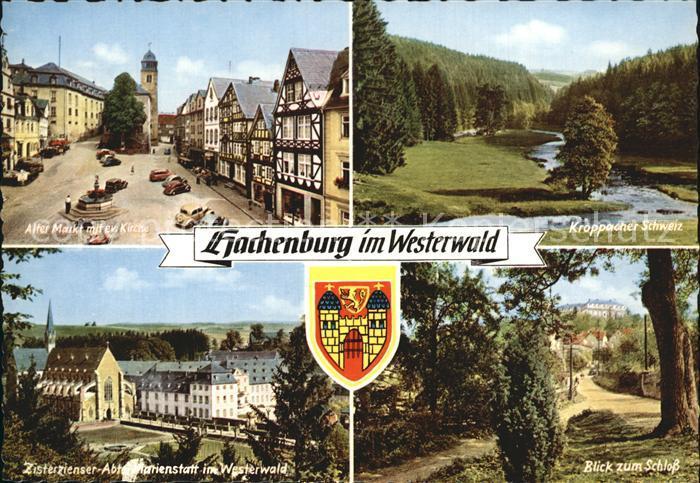 Hachenburg Westerwald Alter Markt Ev Kirche Kroppacher Schweiz Zisterzienser Abtei Marienstatt Schlossblick Kat. Hachenburg