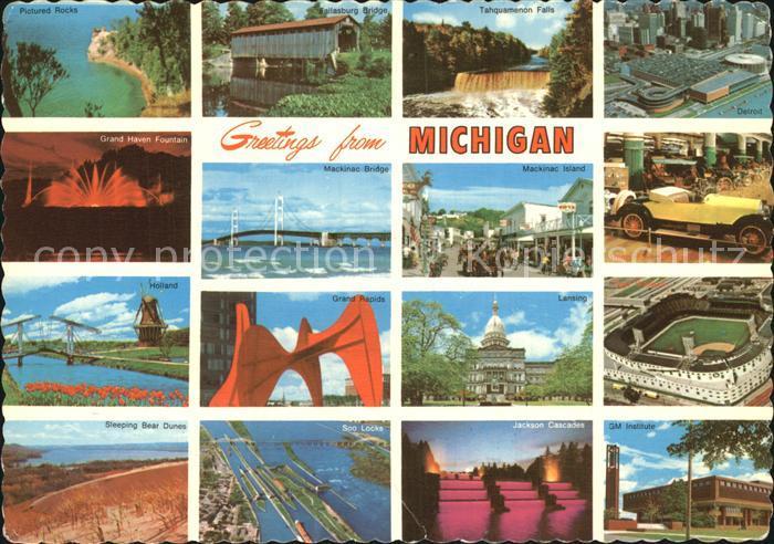 Michigan Pictured Rocks Fallasburg Bridge Tahquamenon Falls Detroit Grand Haven Fountain Mackinac Bridge Island Holland Grand Rapids Lansing Kat. Michigan