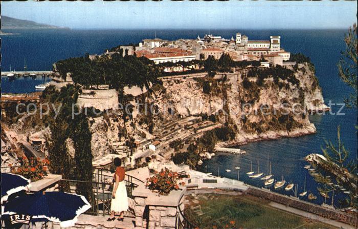 Monaco Le Rocher de Monaco vu du Jardin Exotique Kat. Monaco