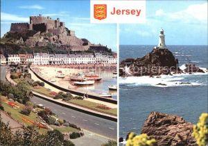 Jersey Mont Orgueil Castle and La Corbiere Lighthouse Kat. Jersey