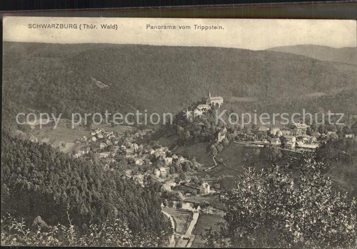 Schwarzburg Thueringer Wald Panorama vom Trippstein Kat. Schwarzburg