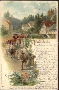 Friedrichroda Kuhherde Kuenstlerkarte Kat. Friedrichroda