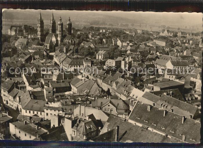 Naumburg Saale Blick vom Wenzelsturm auf Dom und Unstruttal Kat. Naumburg