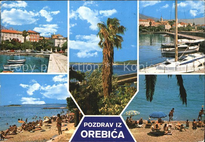 orebic hafen palmen strand kat orebic nr kt19015 oldthing ansichtskarten europa gebiete ehm. Black Bedroom Furniture Sets. Home Design Ideas