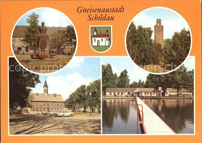 Schildau Gneisenau Denkmal Schildbergturm Platz der DSF Freibad Kat. Schildau Gneisenaustadt